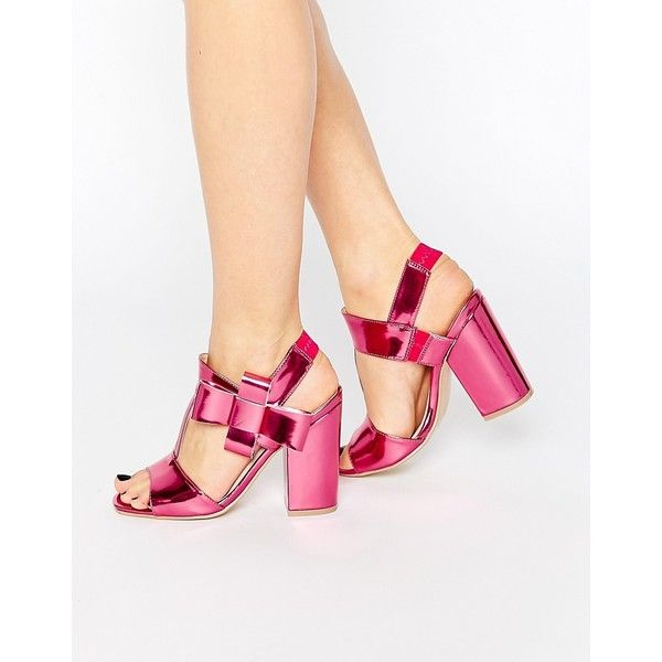 Dolcis Abella Bow Detail Heeled Sandals ($30) ❤ liked on Polyvore featuring shoes, sandals, pink, heeled sandals, metallic block heel sandals, high heel sandals, open toe high heel sandals and bow sandals