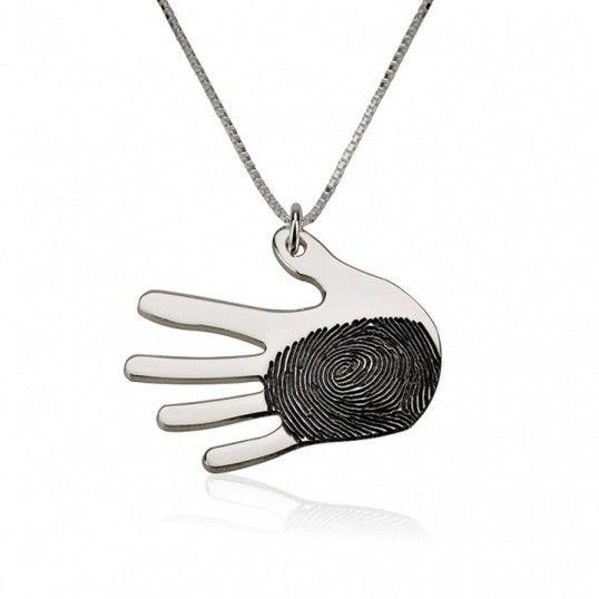 Collar Mano con Huella Dactilar Impresa en Dos Acabados