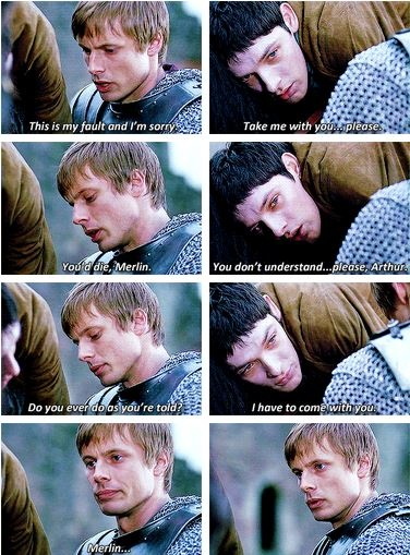 the fact that he was dying and still insisted he go with Arthur. Perfect.