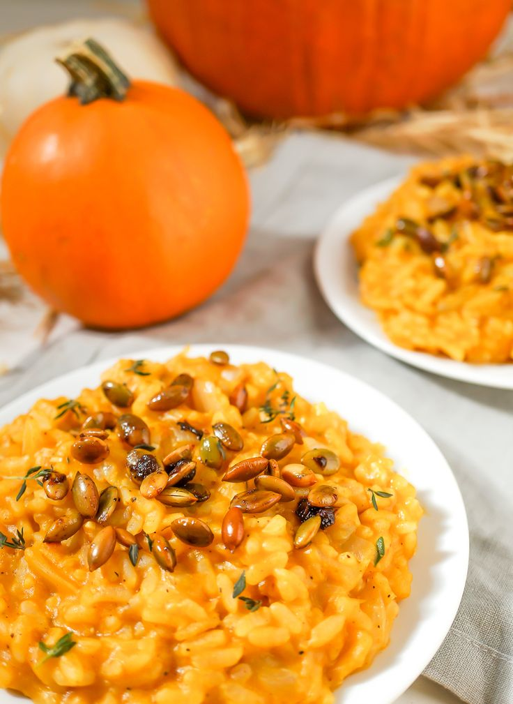 This creamy vegan pumpkin risotto is gluten free and packed with a savory sweet flavor that's perfect for fall. The pepitas add a delicious crunch!