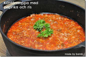 Jag hälsar Viktväktarna välkomna med en värmande köttfärssoppa med paprika och ris   Bambi