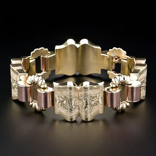 Vintage Two-Tone Gold Bracelet: Gold Oval, Gold Barrels, Vintage Bracelets, Gold Bracelets, Distinct Vintage, Ancient Lang, Gold Link, Vintage Gold, Rose Gold