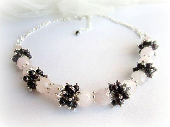 Red garnet necklace gemstones beaded choker by MalinaCapricciosa