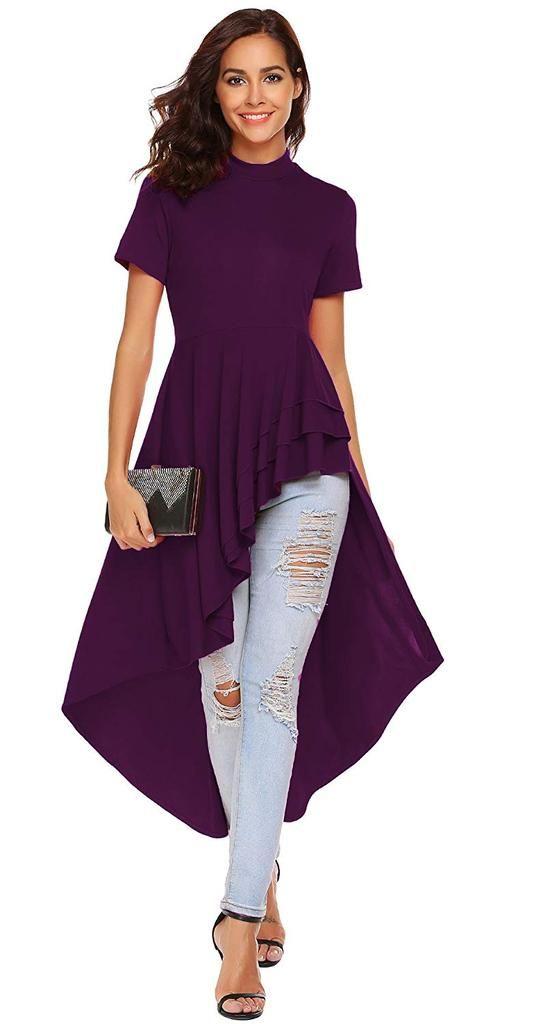 5d46af8aea3b SimpleFun Womens Ruffle High Low Asymmetrical Short Sleeve Bodycon Tops  Blouse Shirt Dress