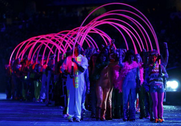 """""""the Tube""""  Performers take part in the opening ceremony of the London 2012 Olympic Games at the Olympic Stadium"""