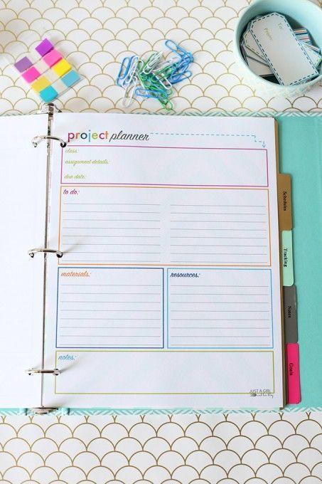 free printable project planner printable student binder