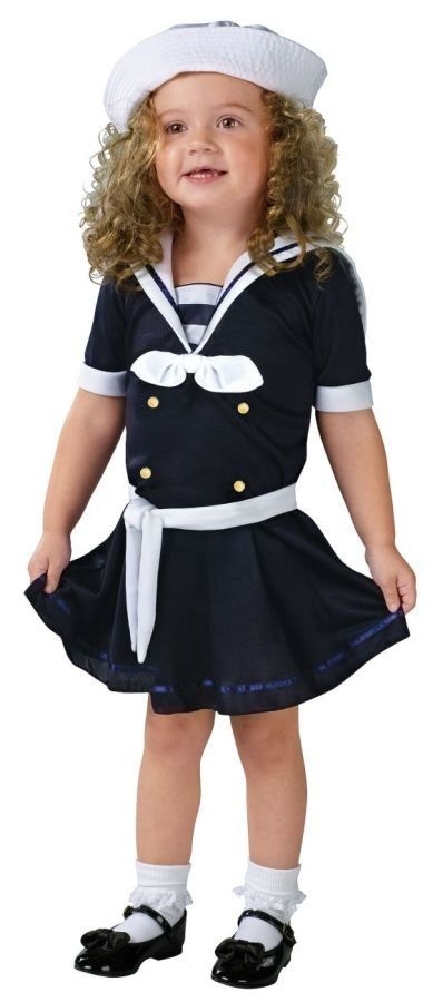 Sea Sweetie Toddler Girl's Costume Navy sailor dress with white accents has sailor hat included. Does not include socks or shoes.