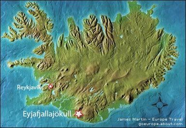 eyjafjallajökull volcano location map - Map of Iceland showing Eyjafjallajökull Volcano ©Mountain High Maps®, modified by James Martin
