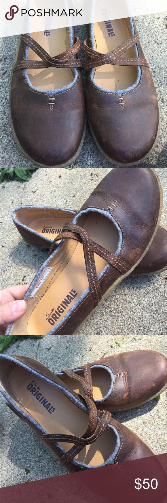 Women's Clarks Brown Leather Mary Janes 10M Women's Clarks Brown Leather Mary Janes 10M. Great Condition Clarks Shoes Flats & Loafers