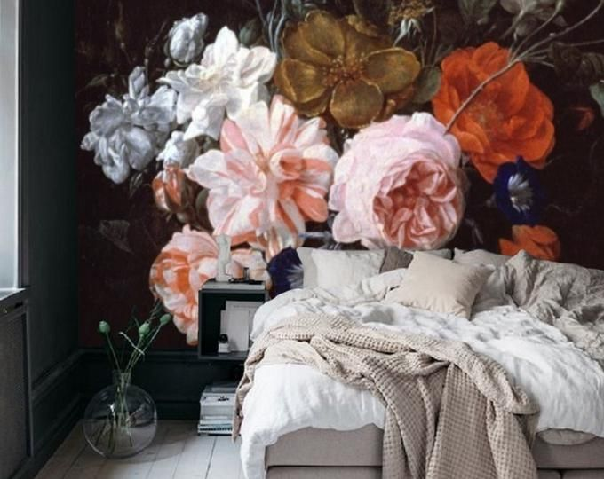 Wall Paper Floral Wallpaper Wall Mural Removable Wallpaper Etsy Patterned Paint Rollers Floral Wallpaper Removable Wallpaper