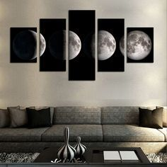 5 pieceno framemoon modern home wall decor canvas picture art hd print