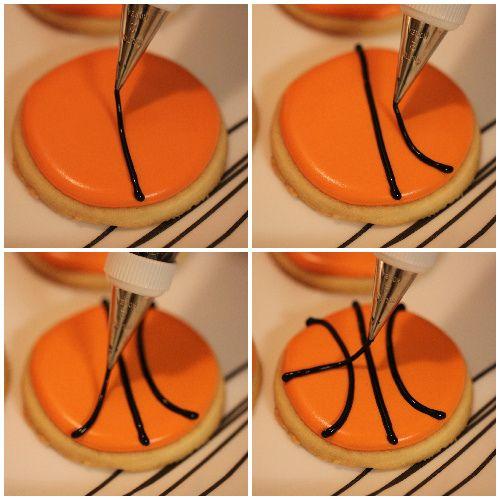 Piping basketball cookies, via Flickr.