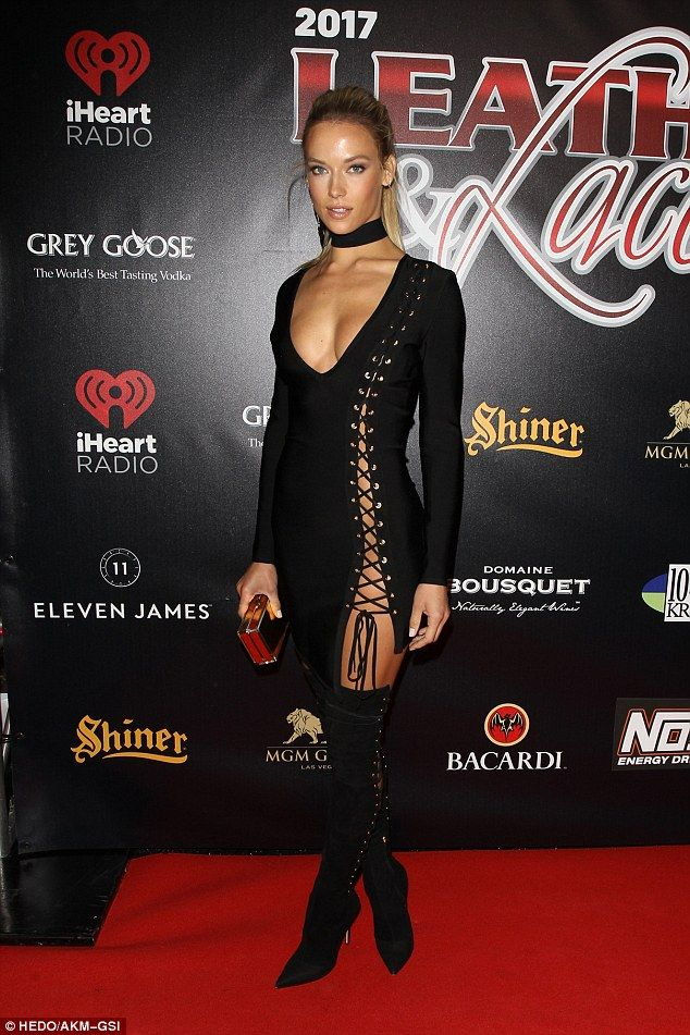 Lacing up! Hannah Ferguson showed off her stellar form at the Leather & Laces Super Bowl celebration in Houston, Texas on Thursday