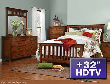 6pc queen bedroom set with tv art van furniture