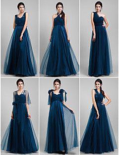 vestido de dama de honra até o chão tule um vestido conversível linha (1739560)