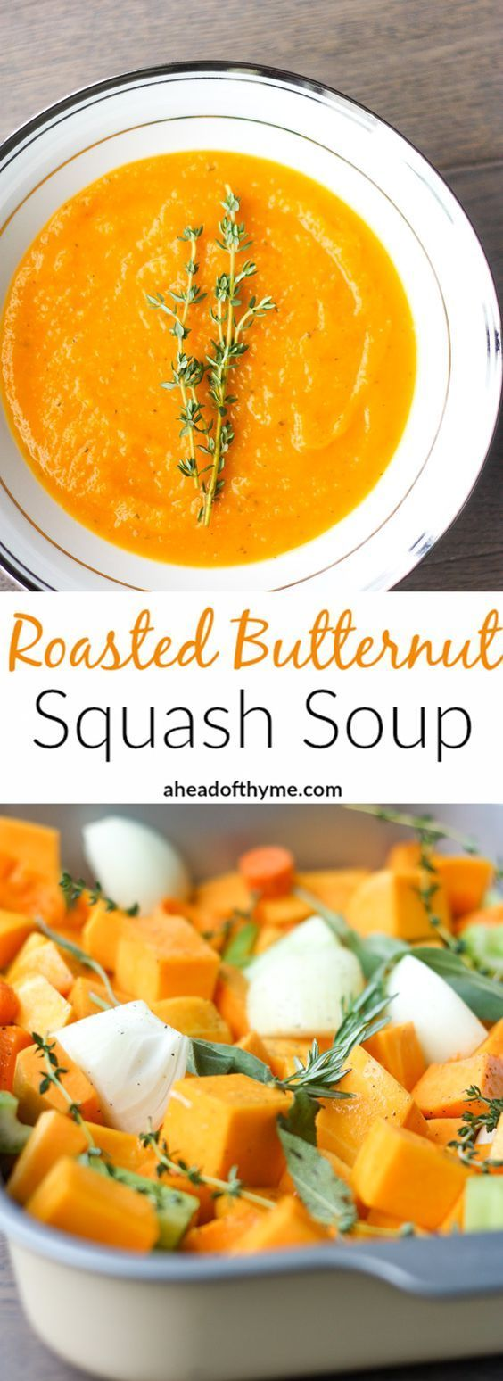 Roasted Butternut Squash Soup: This delicious roasted butternut squash soup sums up the taste of the holidays in one spoon. Rosemary, sage and thyme, need I say more? | aheadofthyme.com