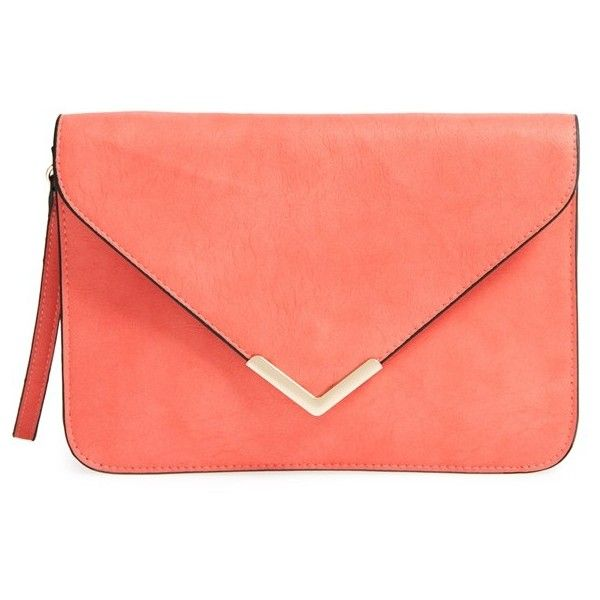 Dolce Girl Flap Clutch found on Polyvore featuring bags, handbags, clutches, purses, bolsa, coral, chevron print purse, chevron purse, flap clutch and red clutches
