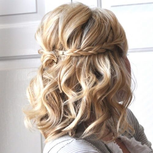 Half Up Braided Updos For Short Hair Hair Styles Short Hair Updo Medium Hair Styles
