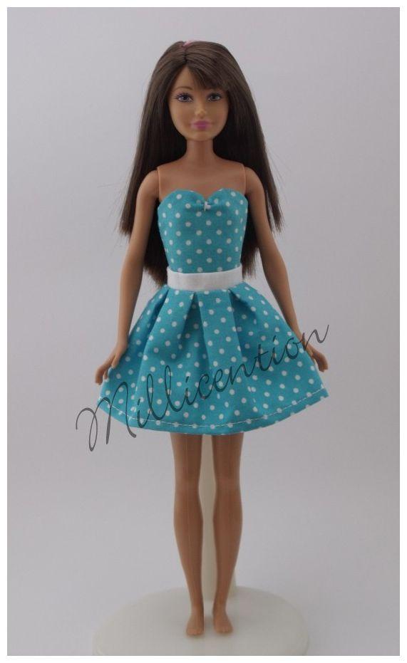 Turquise-white polka dot top & skirt for Skipper dolls