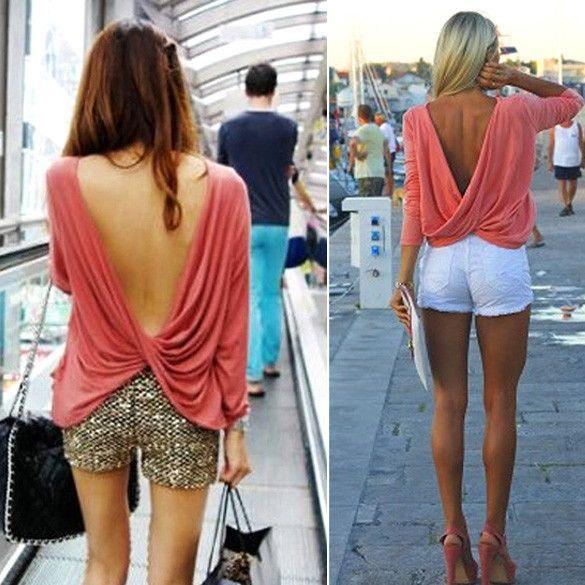 Draped Deep V-back Backless T-Shirt Crop Blouse