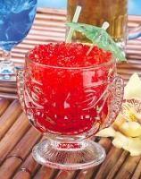 Recept Zombie. Een behoorlijk sterke fruit cocktail, de naam geeft het al aan.
