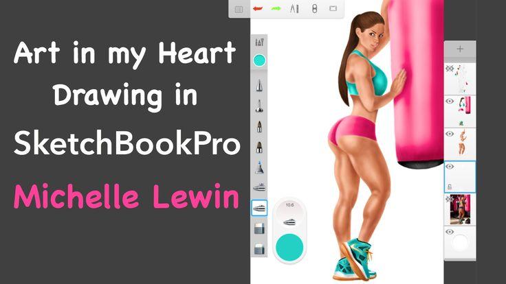 SketchBookPro Autodesk Speed Painting Michelle Lewin IFBB Pro Fitness-bi...