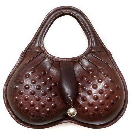 Grayson Perry Scrotal Sack handbag front - Liberty of London documentary - penis bag - handbag.com