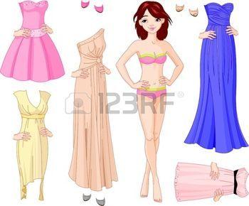 abito da sera: Bambola di carta con diversi abiti da sera
