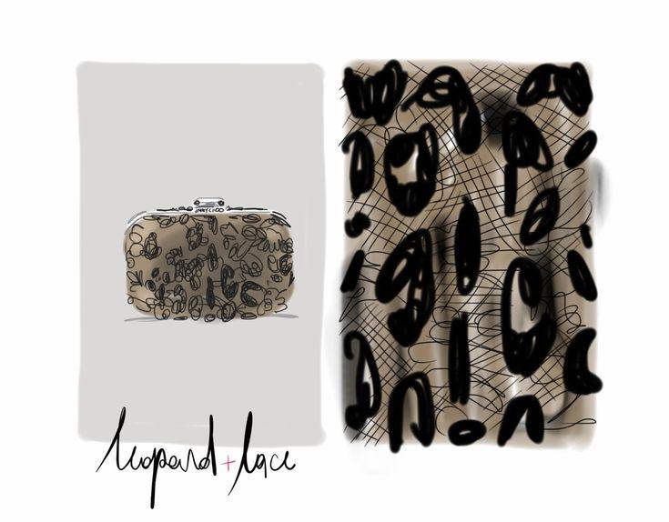 Leopard lace clutch bag, Jimmy Choo F/W13.  #fashion #illustration Open Toe / Opentoeillustration.com