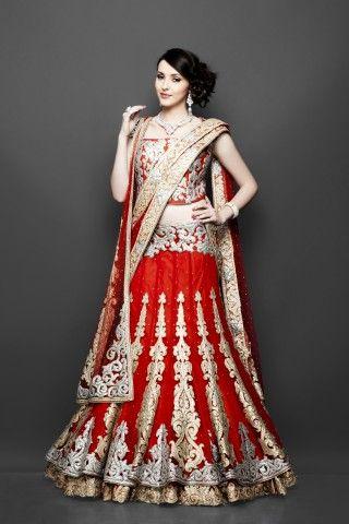Red double layered bridal lehenga, Bridal Lengha, Indian wedding clothes, red lehenga