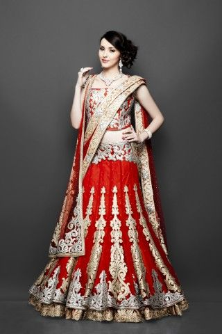 Red double layered bridal lehenga, Bridal Lengha, Indian wedding clothes, red lehenga