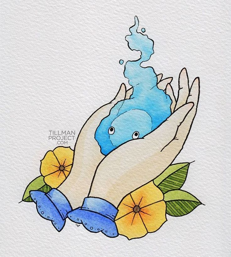 """have heart"" / pen & watercolor . . .#howlsmovingcastle #howls #calcifer"