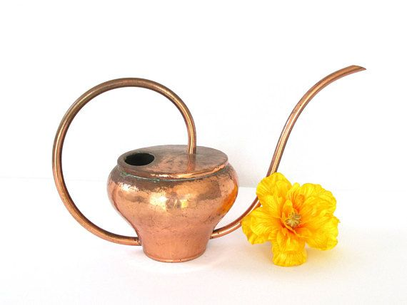 Gardening never looked so good!  --  Midcentury Modern Copper Watering Can Hammered Copper Brass Home Decor Planter Photo Props Gifts Danish Modern Indoor Gardening Metal