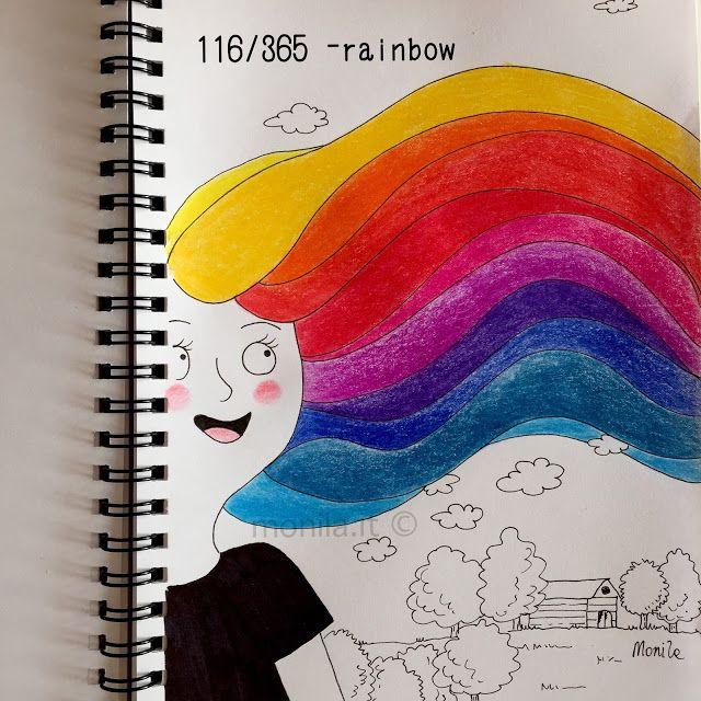 Monila handmade,doodle, i ghirigori di Monila,Rainbow,arcobaleno,capelli,illustrazione,illustration,hair