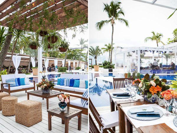 Nesse projeto, a Efemera Arquitetura utilizou como base a combinação de azul e branco, que são as cores do Sea Club Ilhabela, espaço onde aconteceu o casam