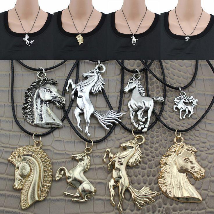"[$5 minimum] 2016 Fashion Jewelry Vintage Silver/Gold Horse Pendant 17"" Short Children Necklace Free Shipping Horse01"