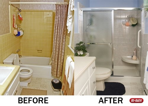 17 best images about before and after on pinterest for Bath remodel one day
