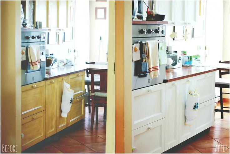 Cucina rinnovata dipingendo di bianco i mobili. Nel blog c'è il link al sito sul quale acquistare la vernice che ha usato.