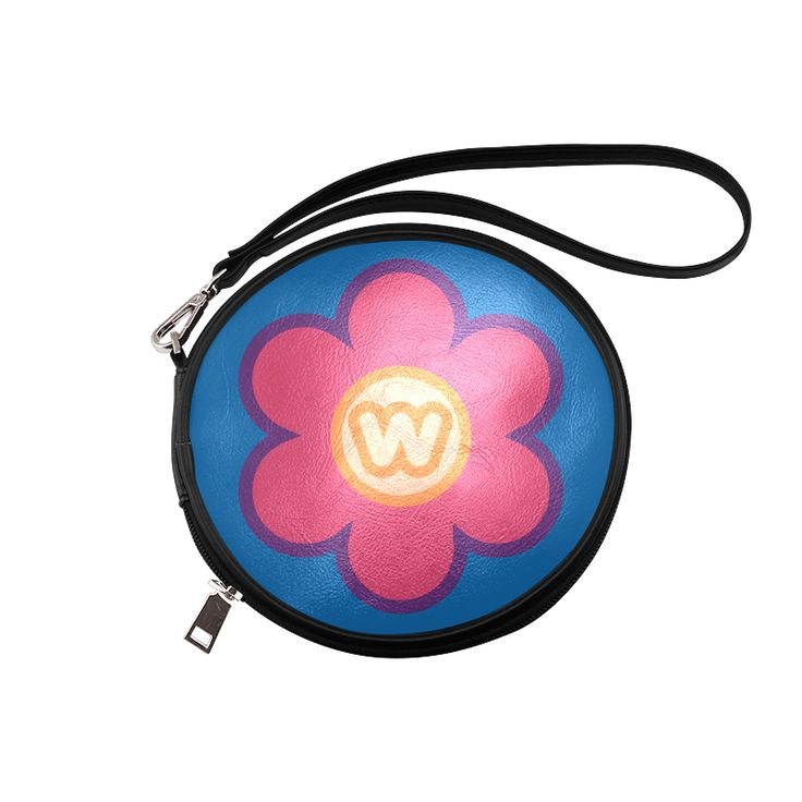 Pink Flower - W Monogram Round Makeup Bag (Model 1625)