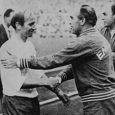 8th June 1968. England manager Sir Alf Ramsey congratulates Bobby Charlton after a win over USSR in the Nations Cup
