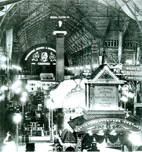 1893 picture of the Westinghouse electricity exhibit at the Colombian World's Fair in Chicago.