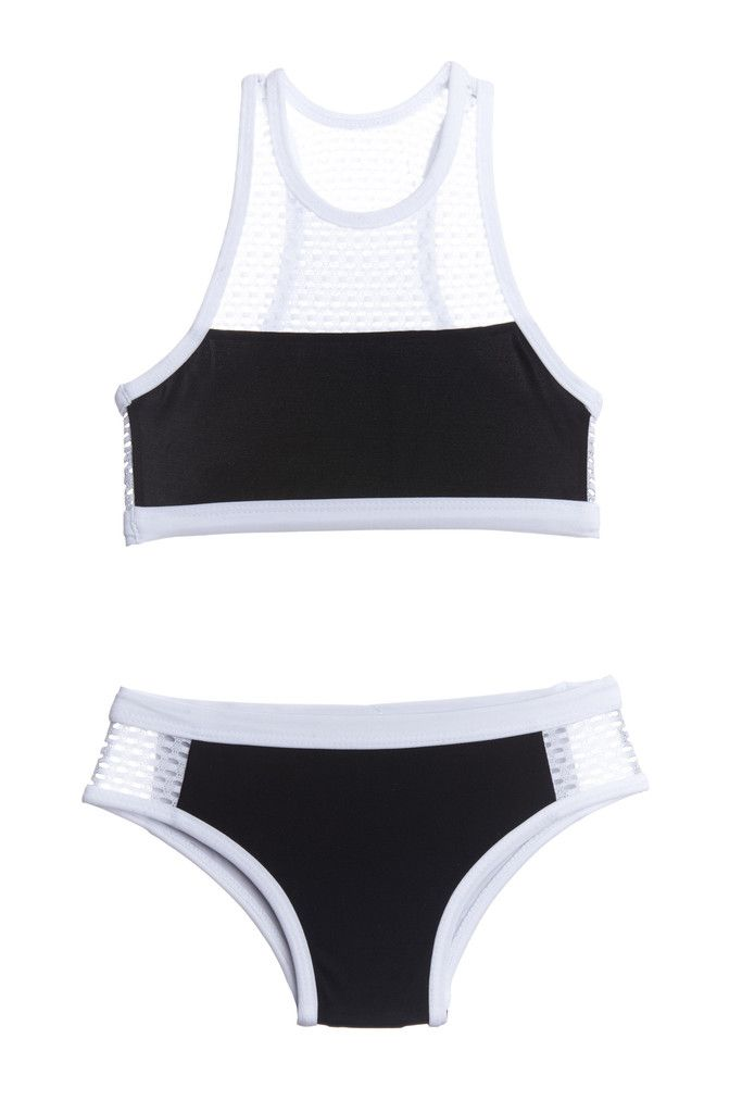 Black and White Mesh Racer Swimsuit Kids Two Piece Bikini""