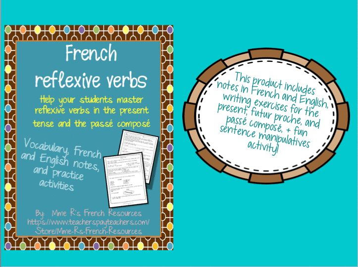 French reflexive verbs notes and exercises - notes available in French and English.  Includes writing activities for the present, futur proche, and passé composé.  Teacher answer key and writing rubric included.
