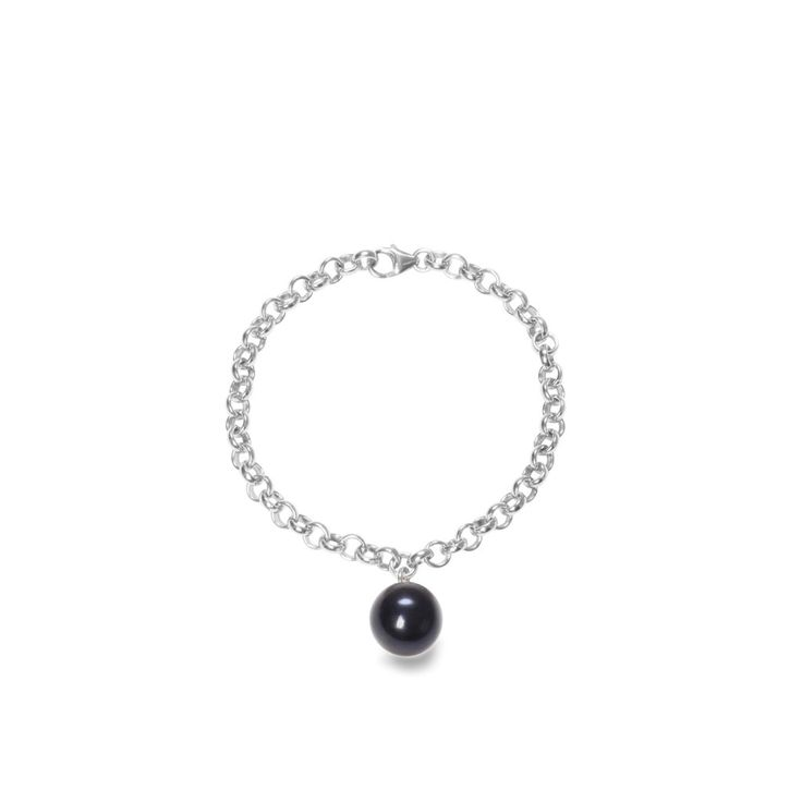 Trendy & chic: ORA Pearls' chain bracelet with black XXL pearl charm 13 - 14 mm pearl diameter. Choose from sterling silver and gold filled.  Song of Jewellery - British Jewellery Shop