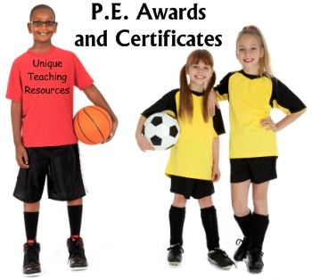 This page contains general PE awards and certificates, as well as awards for soccer, football, and basketball:  http://www.uniqueteachingresources.com/PE-award-certificates.html