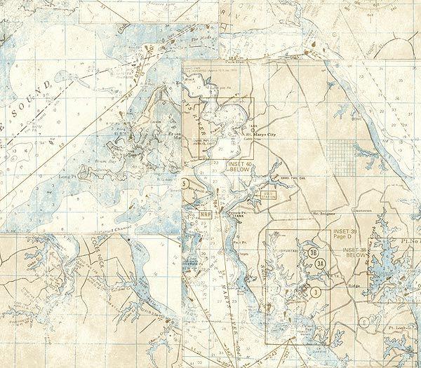 Ivory Nautical Map Wallpaper, $24.00