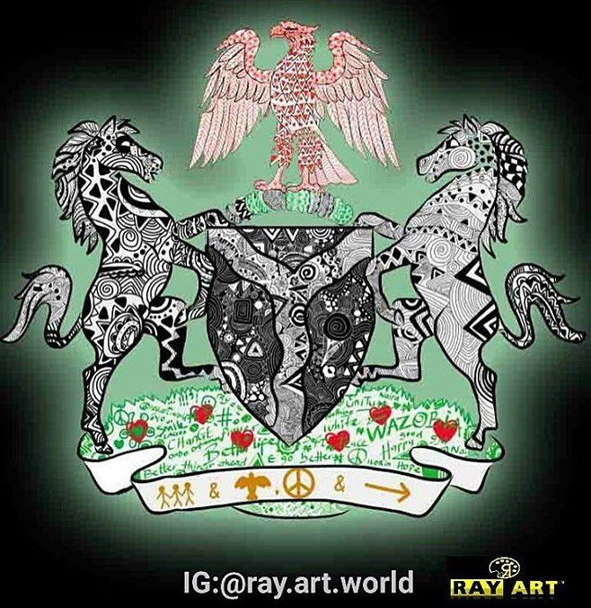 Good morning NIGERIA. Coat of arms by @ray.art.world