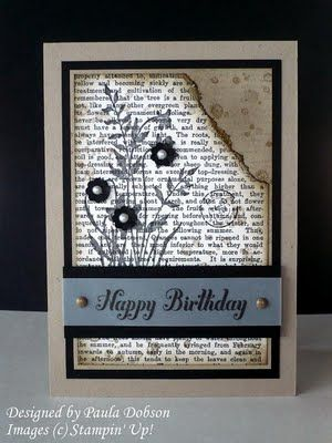 Cards Collection, Cards Ideas, Torn Paper, Crumb Cake, Beautiful Ideas, Stamps Sets, Happy Birthday Cards, Layered Stamps, Newsprint Birthday