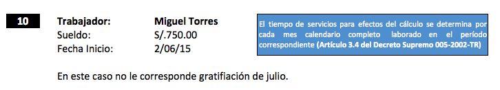 Caso 10: Trabajador que labora menos de 1 mes --->  Miguel Torres labora en la empresa TEKILA SAC con un sueldo de S/. 750 mensuales, cuya fecha de ingreso es el 02 de Junio, nos consulta cuanto es el valor de su gratificación de Julio.