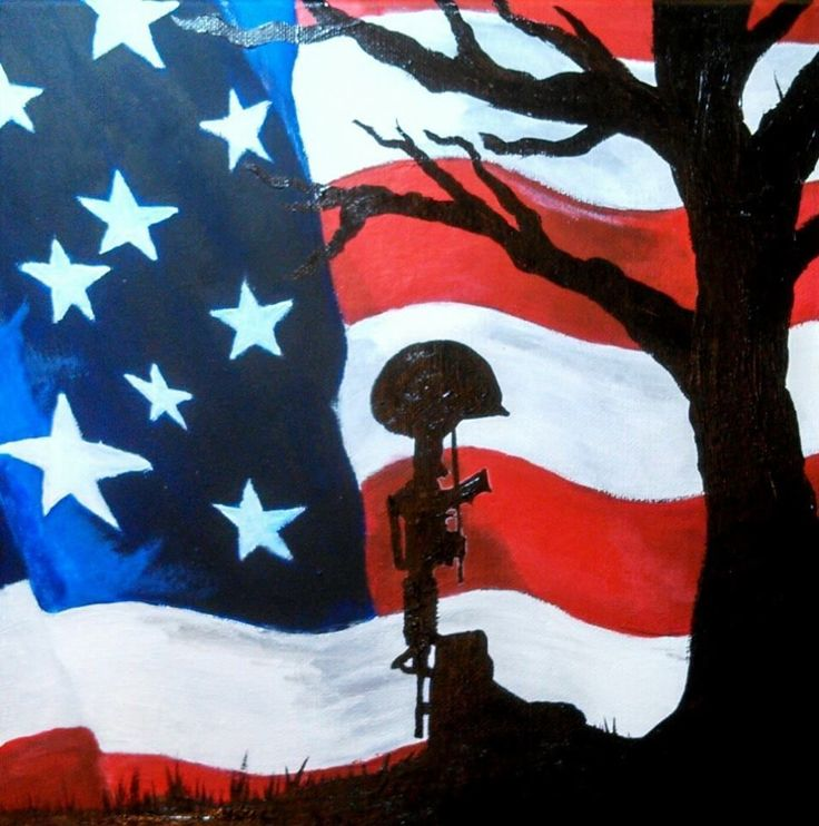 American Flag, Original Acrylic Painting from the Artist, Battlefield Cross #Expressionism